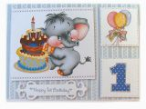 Birthday Cards for One Year Old Baby Boy One Year Old Blue Elephant Birthday Card Baby 39 S First