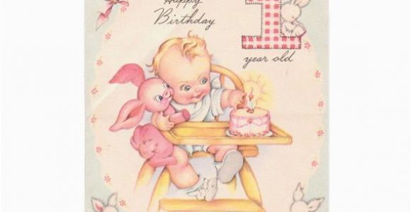 Birthday Cards for One Year Old Baby Girl 1940s Birthday Card One Year Old Childrens Birthday Greeting