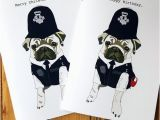 Birthday Cards for Police Officers Police Officer Pug Birthday Card Police Retirement Card