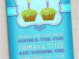 Birthday Cards for Twin Boys Twins First Birthday Party Invitation Cupcake Twins First