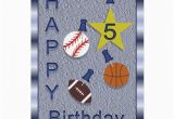 Birthday Cards Sports theme Happy 5th Birthday Sports themed Greeting Card Zazzle