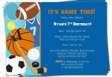 Birthday Cards Sports theme Printable Birthday Sports theme Invitation by