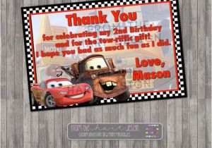 Birthday Cards with Cars On them Disney Cars Birthday Thank You Card Digital Printable
