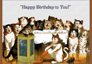 Birthday Cards With Cats Singing Group Of Happy Refrigerator Magnet