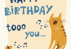 Birthday Cards With Cats Singing Happy Vector Card Stock Illustration Of