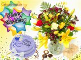 Birthday Cards with Flowers and Cake Happy Birthday Wishes with Cake and Flowers J 440 1 Id