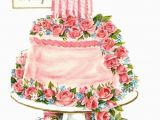 Birthday Cards with Flowers and Cake Vintage Birthday Card Pink Cake by Paperprizes On Etsy