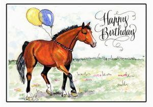 Birthday Cards with Horses On them Birthday Card Happy Birthday Horse Card Bay Horse Birthday