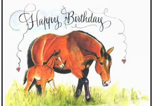 Birthday Cards with Horses On them Birthday Horse Card Mare and Foal Card Handmade Horse Card