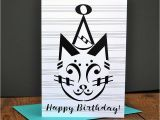 Birthday Cards with Name and Music Music Birthday Card Party Cat Birthday Card Music Note