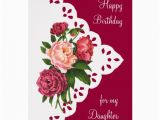 Birthday Flowers for My Daughter Vintage Peony Flower for Daughter Birthday Greeting Card