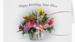 Birthday Flowers for Niece Birthday Niece Flowers In A Basket Greeting Card Zazzle