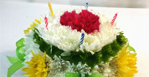 Birthday Flowers Next Day Delivery Same Day Delivery Birthday Flower Cake Green and Yellow
