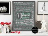 Birthday Gift for 70th Man 70 Reasons We Love Dad 70th Birthday Gift for Him for