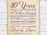 Birthday Gift for Great Grandmother 80th Birthday 80 Years Old Birthday Gift for Mother