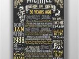 Birthday Gift Ideas for Him 23rd 1989 Birthday Board 30 Years Ago 1989 History 1989 Fact