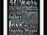 Birthday Gift Ideas for Husband Turning 40 Custom Gift for Husband On Birthday 40th Birthday 40 Years
