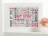 Birthday Gifts for Him 16th 16th Birthday Personalised Word Art Gifts for Him