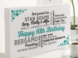 Birthday Gifts for Him 60 60th Birthday Gift Of Personalised Typographic Art