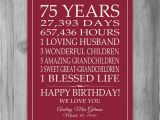 Birthday Gifts for Him 75 75th Birthday Gift Sign Print Personalized Art Mom Dad Grandma