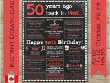Birthday Gifts for Him Canada 50th Birthday for Him 50th Birthday for Her 1969 Canada