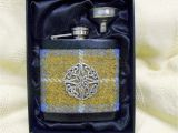 Birthday Gifts for Him Scotland Harris Tweed Hip Flask Blue Mustard with Celtic Knot Best