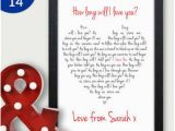 Birthday Gifts for Husband In Sydney How Long Will I Love You Romantic Personalised Birthday