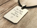 Birthday Gifts for Husband Jewelry Boyfriend Gift Be Safe Personalized Leather Necklace for
