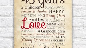 Birthday Gifts for Mens 45th Anniversary Gift for Parents 45 Year Anniversary 45th Year