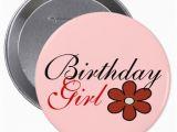 Birthday Girl buttons Pretty Red Flower Birthday Girl Big button Zazzle