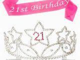 Birthday Girl Crown and Sash 21st Birthday Tiara and Sash 21 Rhinestone Silver and Pink