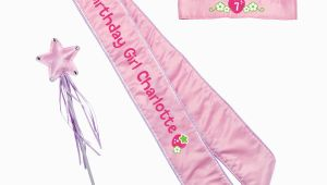 Birthday Girl Crown and Sash Strawberry Shortcake Birthday Girl Pink Sash and Crown Set