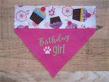 Birthday Girl Dog Bandana Reversible Birthday Girl Dog Bandana Over the Collar