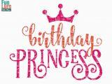 Birthday Girl Logo Birthday Princess with Crown Svg southern Swirl Fancy
