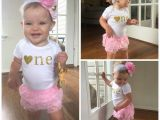 Birthday Girl Outfits for toddlers Pink and Gold First Birthday Outfit First Birthday Girl