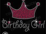 Birthday Girl Rhinestone Tiara Birthday Girl and Tiara Crown Rhinestone Hotfix Transfer Iron