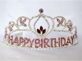 Birthday Girl Rhinestone Tiara Flower Birthday Girl Tiara with Pink Rhinestones Birthday