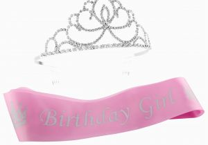 Birthday Girl Sash and Crown Pink Birthday Girl Sash Glitter Tiara 2 Piece Set Silver
