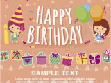 Birthday Greetings Card Free Download Happy Birthday Card Template Vector Free Download