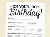 Birthday Ideas for 27 Year Old Male 100th Birthday Party Game Card Funny Milestone Printable Pdf