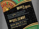 Birthday Ideas for Him In Las Vegas Casino theme Invitation for Birthday Party Casino Game Night