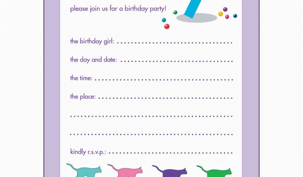 Birthday Invitation For 10 Years Old Girl Childrens