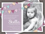 Birthday Invitation for 2 Year Girl Bunting Invitation Photo Printable Invite 1 Year Old 2 Year
