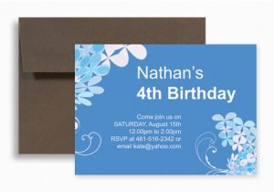 Birthday Invitation For 4 Year Old Boy Blue Four Design 7x5 In