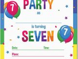 Birthday Invitation for 7 Years Old Boy 7 Year Old Birthday Invitations 5 Year Old Birthday