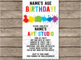 Birthday Invitation Ticket Template Art Party Ticket Invitations Paint Party Template