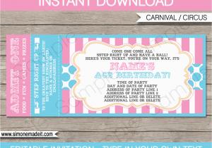 Birthday Invitation Ticket Template Carnival Invitations Circus
