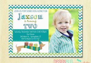Birthday Invitation Wording For 3 Year Old Boy Dog Weiner Dachshund Invite