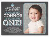 Birthday Invitation Wording for 5 Year Old Boy Little Cake Boy First Birthday Invitation Shutterfly