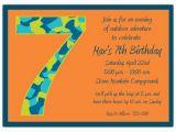 Birthday Invitation Wording for 7 Year Old Boy Birthday Boy Camo 7th Birthday Invitations Paperstyle